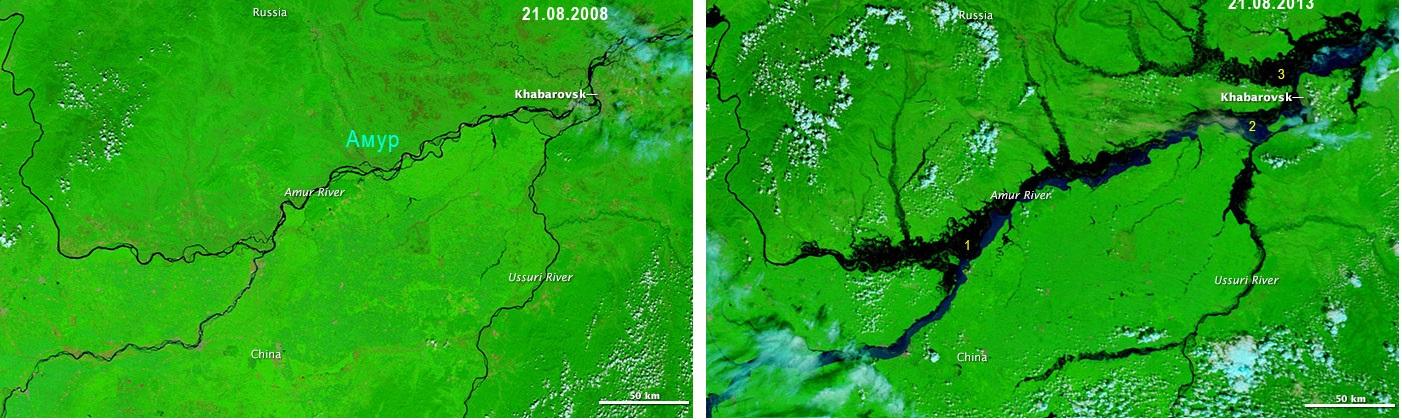 Беспрецедентный разлив реки Амур